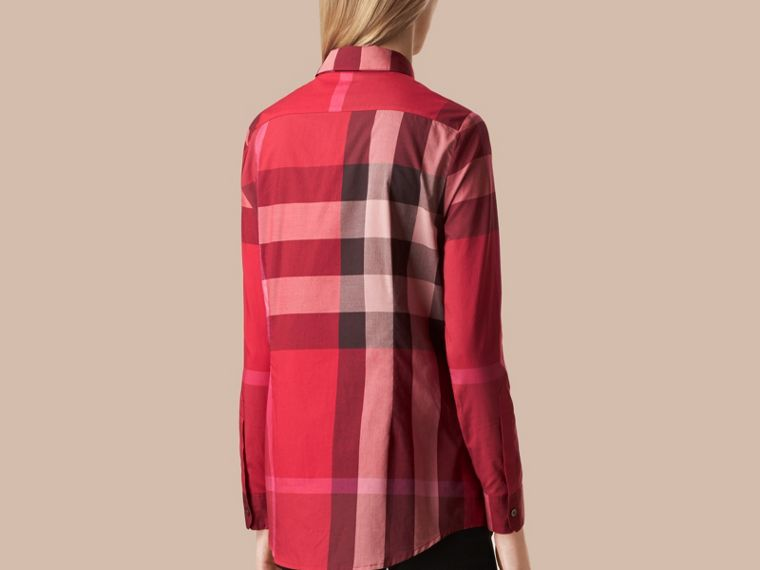 Beerenrot Baumwollbluse mit Check-Muster Beerenrot - cell image 2