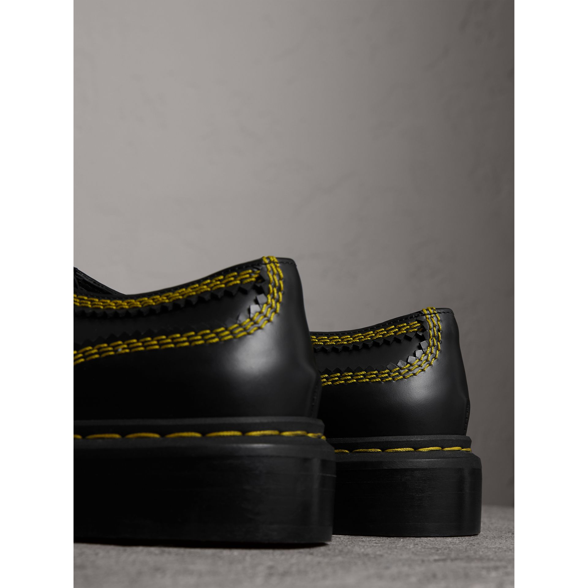 Topstitch Leather Lace-up Shoes in Black - Women | Burberry - gallery image 4