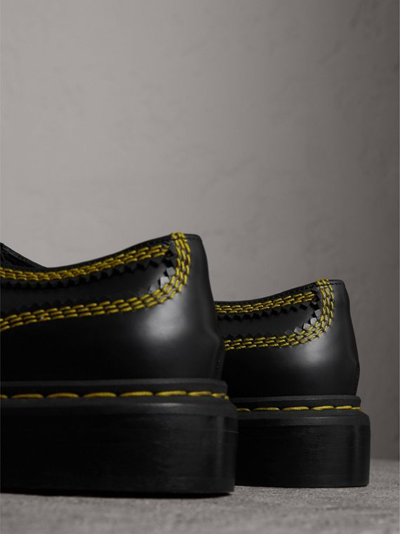 Topstitch Leather Lace-up Shoes in Black - Women | Burberry United States - cell image 3