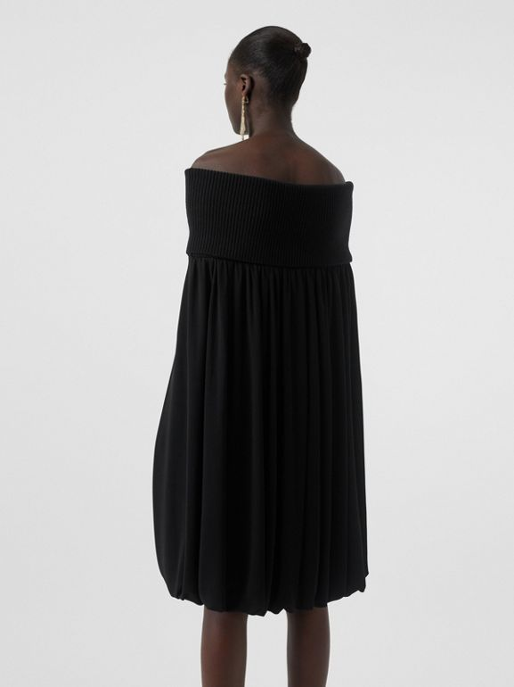 Off-the-shoulder Wool and Crepe Dress in Black - Women | Burberry - cell image 1