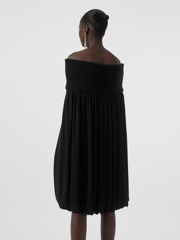 오프 더 숄더 울 크레이프 드레스 (블랙) - 여성 | Burberry - cell image 2