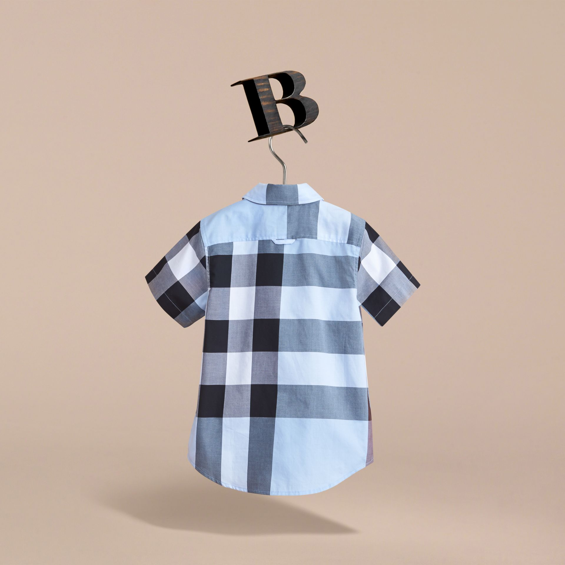 Short-sleeve Check Cotton Shirt in Cornflower Blue - gallery image 4