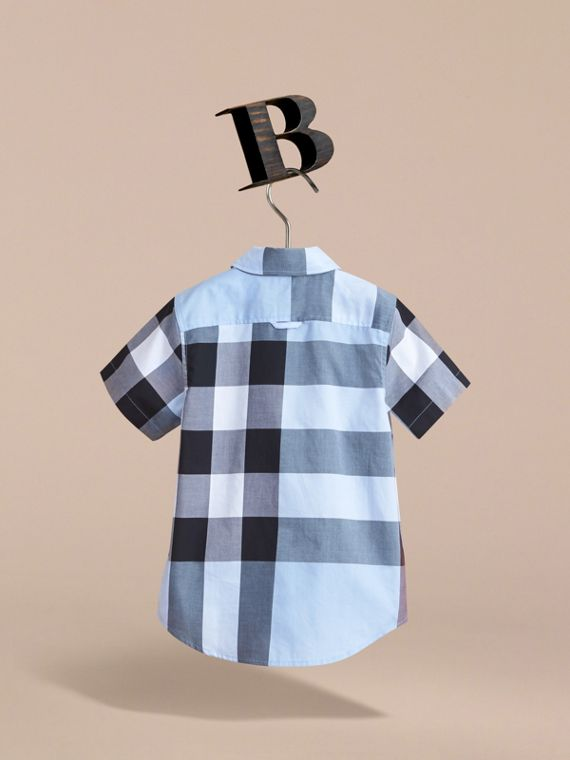 Short-sleeve Check Cotton Shirt in Cornflower Blue - Boy | Burberry Singapore - cell image 3