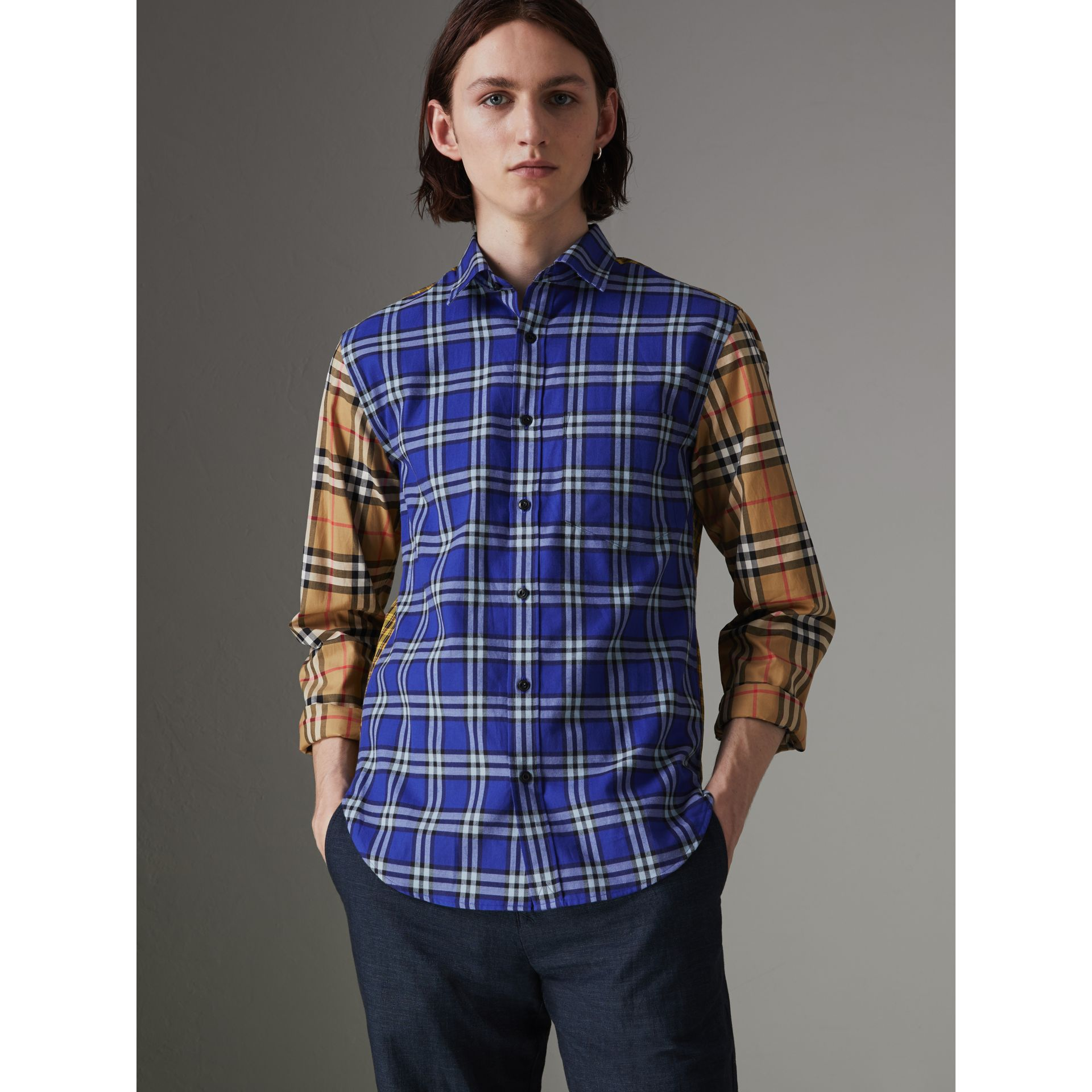 Contrast Check Cotton Shirt in Bright Lapis - Men | Burberry Canada - gallery image 0