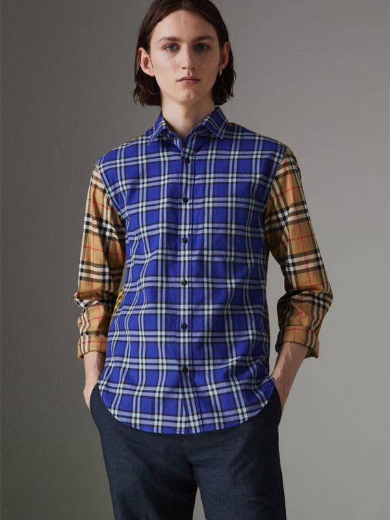 Contrast Check Cotton Shirt in Bright Lapis