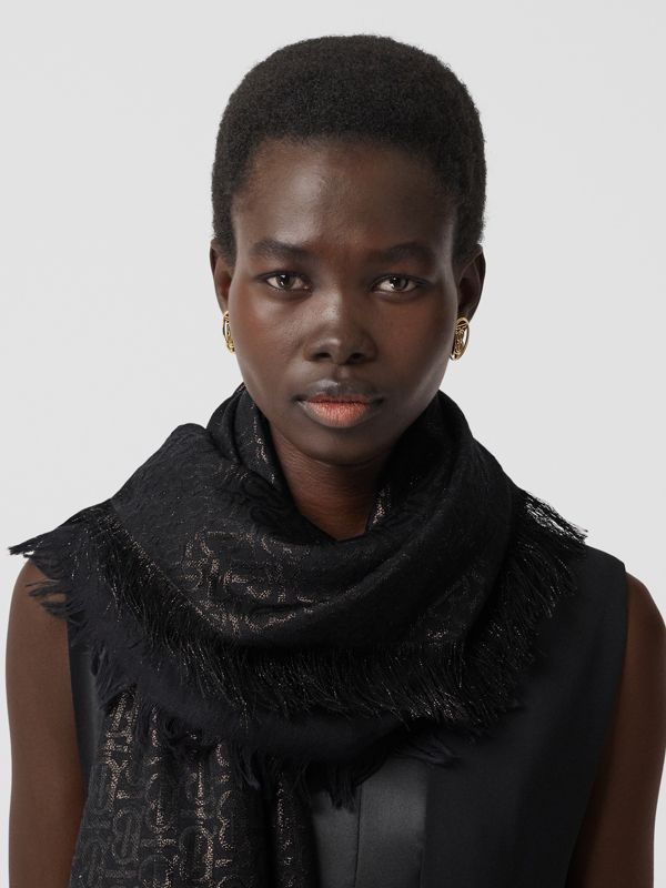 Metallic Monogram Silk Blend Large Square Scarf in Black | Burberry - cell image 2