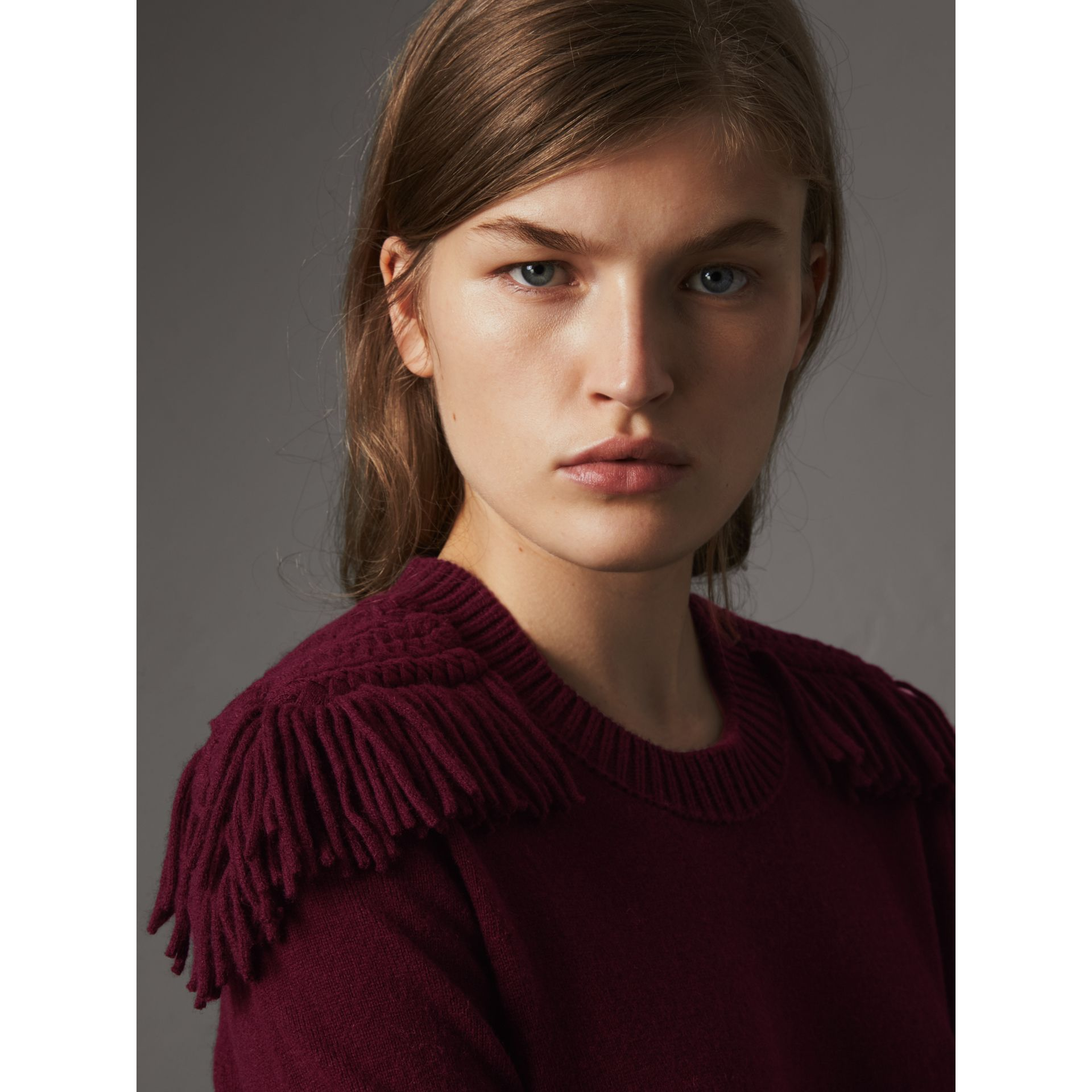 Epaulette Detail Wool Cashmere Dress in Burgundy - Women | Burberry - gallery image 2