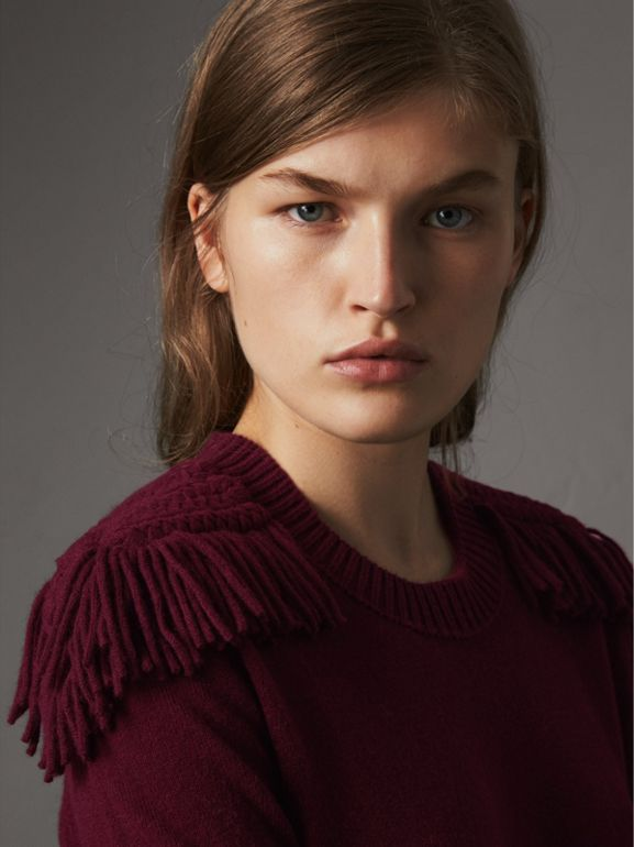 Epaulette Detail Wool Cashmere Dress in Burgundy - Women | Burberry - cell image 1