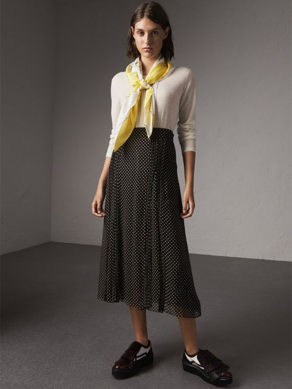 London Print Silk Square Scarf in Bright Yellow - Women | Burberry Singapore - cell image 2