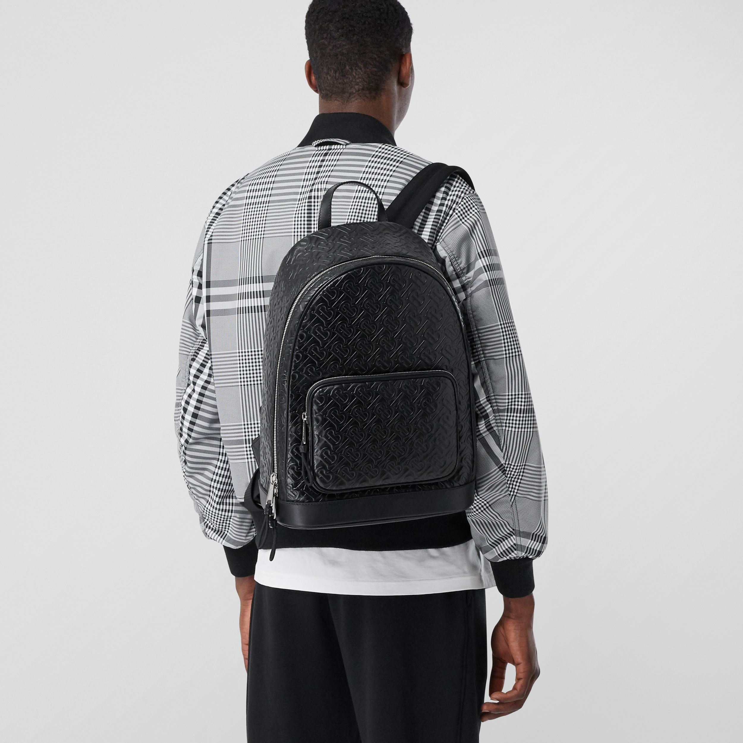 Monogram Leather Backpack in Black - Men | Burberry Canada - 3