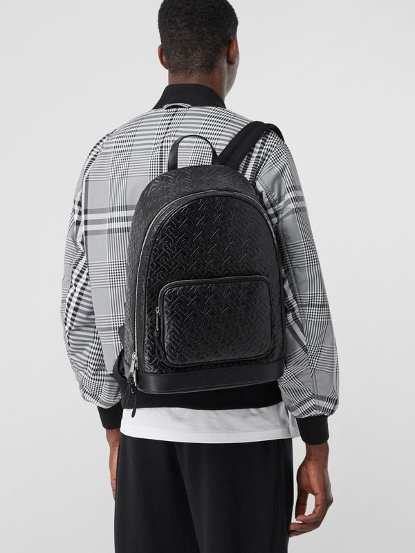 Monogram Leather Backpack in Black - Men | Burberry - cell image 2
