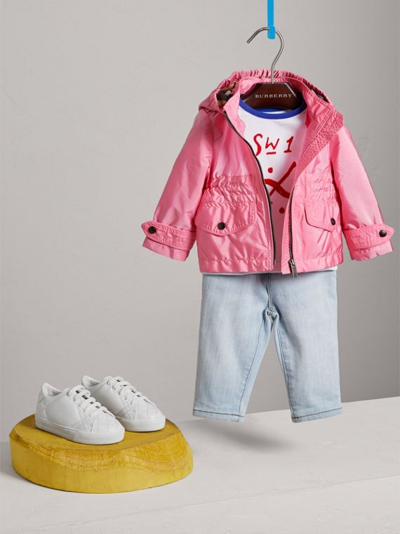 Hooded Packaway Technical Jacket in Peony