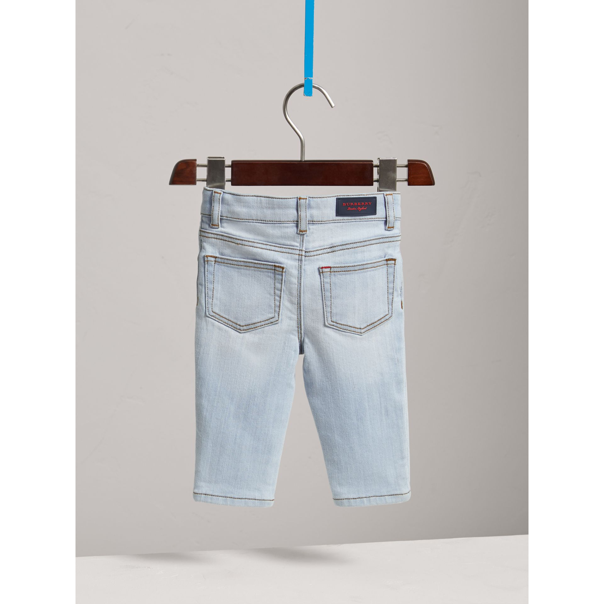 Skinny Fit Stretch Denim Jeans in Light Blue - Children | Burberry United Kingdom - gallery image 3