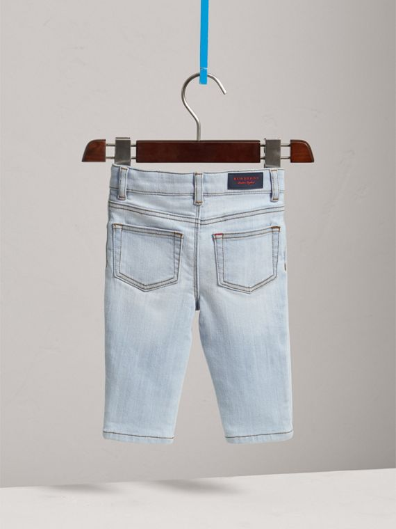 Skinny Fit Stretch Denim Jeans in Light Blue | Burberry - cell image 3