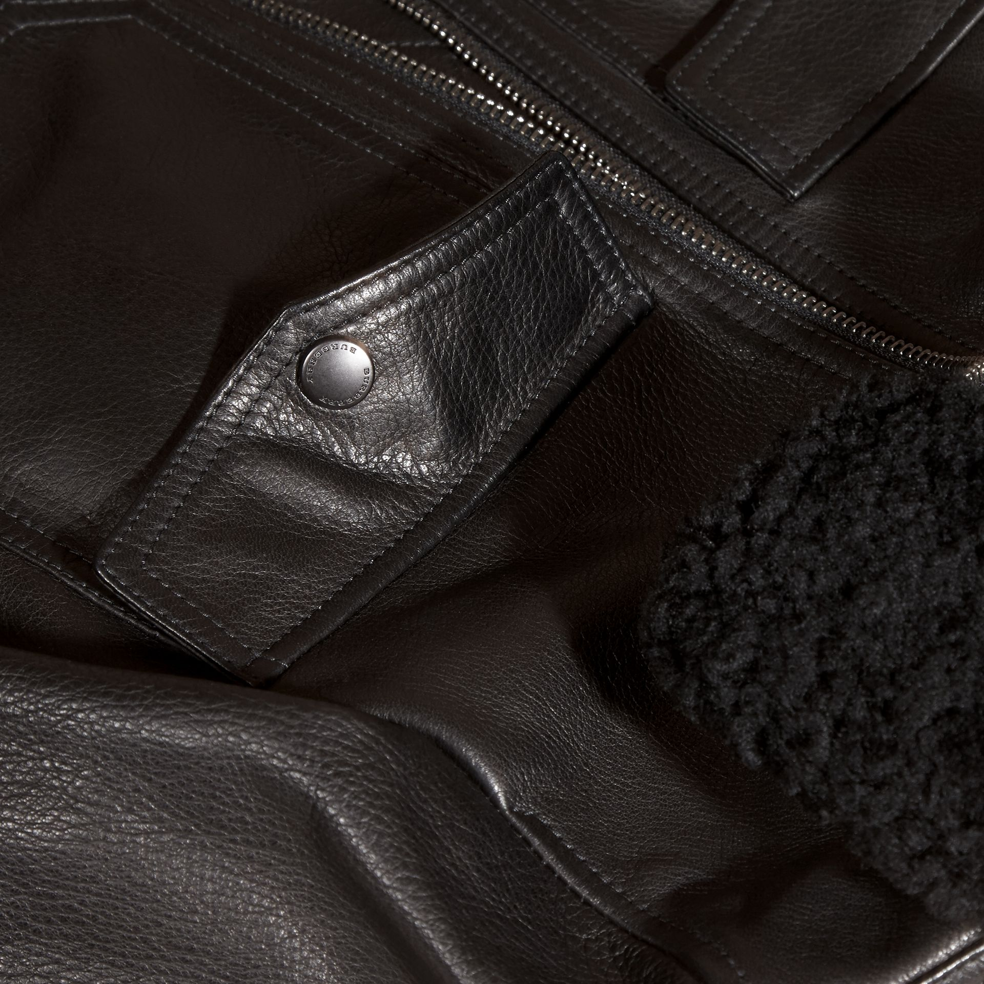 Black Leather Blouson with Detachable Shearling Collar - gallery image 2