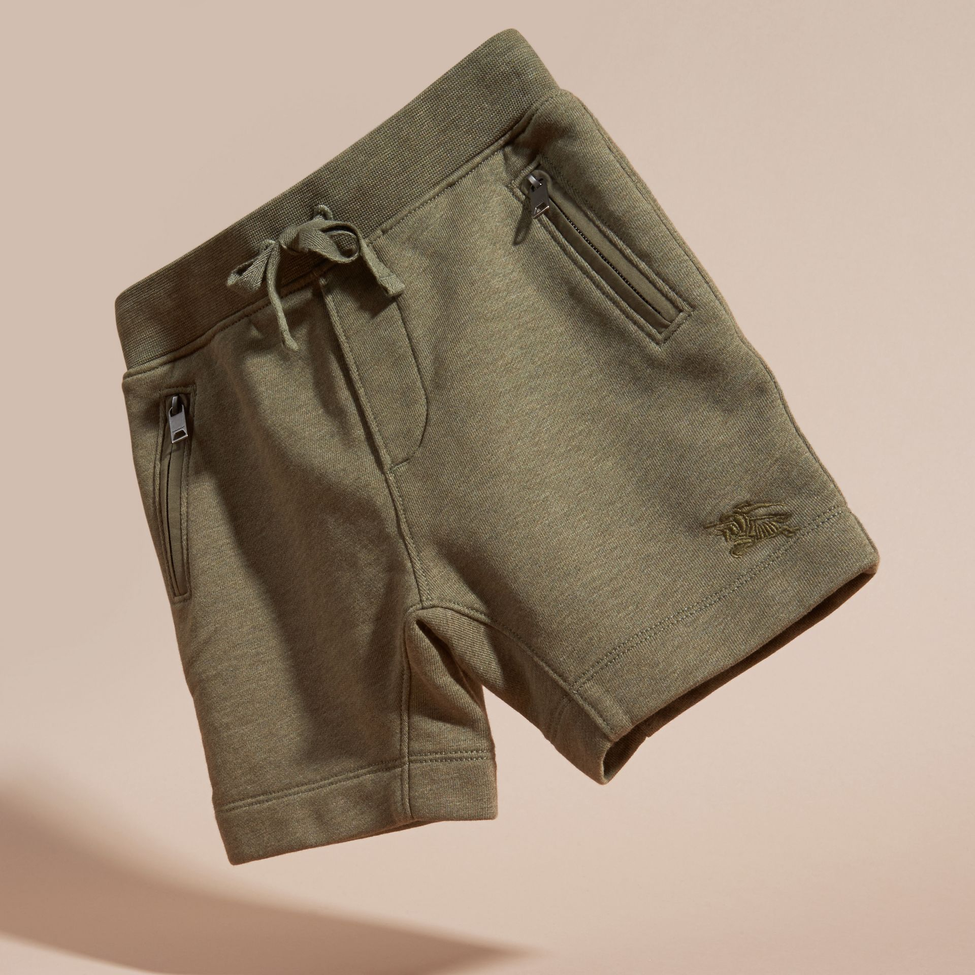 Cotton Jersey Drawcord Shorts in Khaki Green Melange - Boy | Burberry - gallery image 3