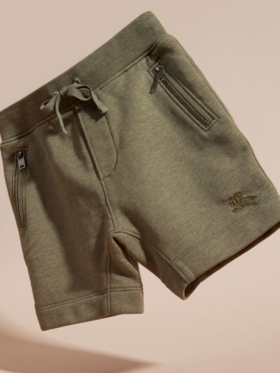 Cotton Jersey Drawcord Shorts in Khaki Green Melange - Boy | Burberry - cell image 2