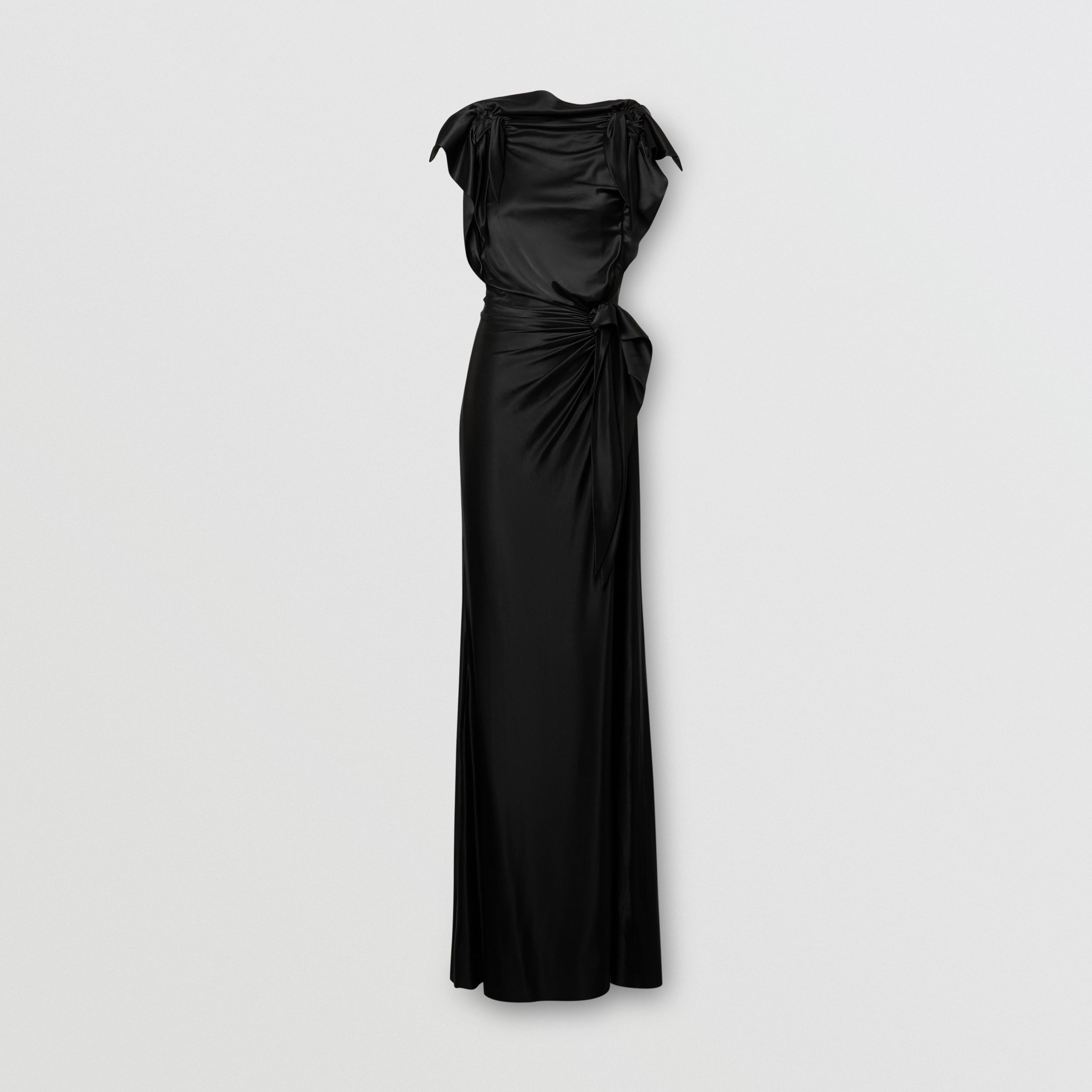 Tie Detail Stretch Jersey Gown in Black - Women | Burberry - 4