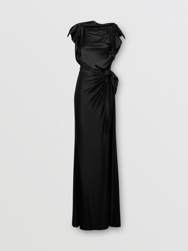 Tie Detail Stretch Jersey Gown in Black - Women | Burberry - cell image 3