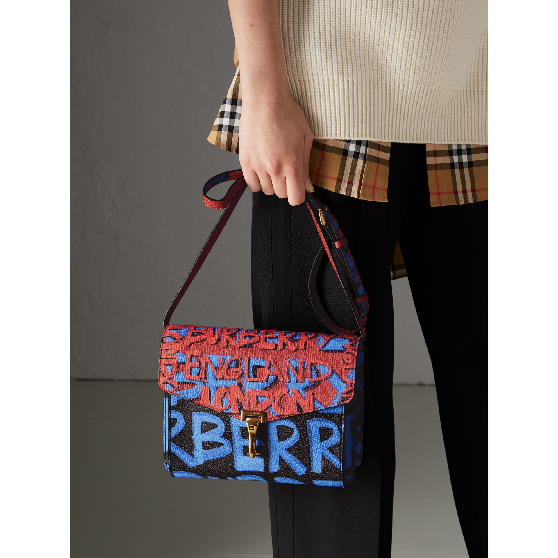 Small Graffiti Print Leather Crossbody Bag in Black - Women | Burberry Australia - gallery image 3