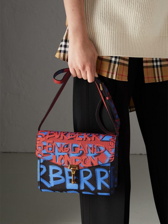 Small Graffiti Print Leather Crossbody Bag in Black - Women | Burberry Australia - cell image 3
