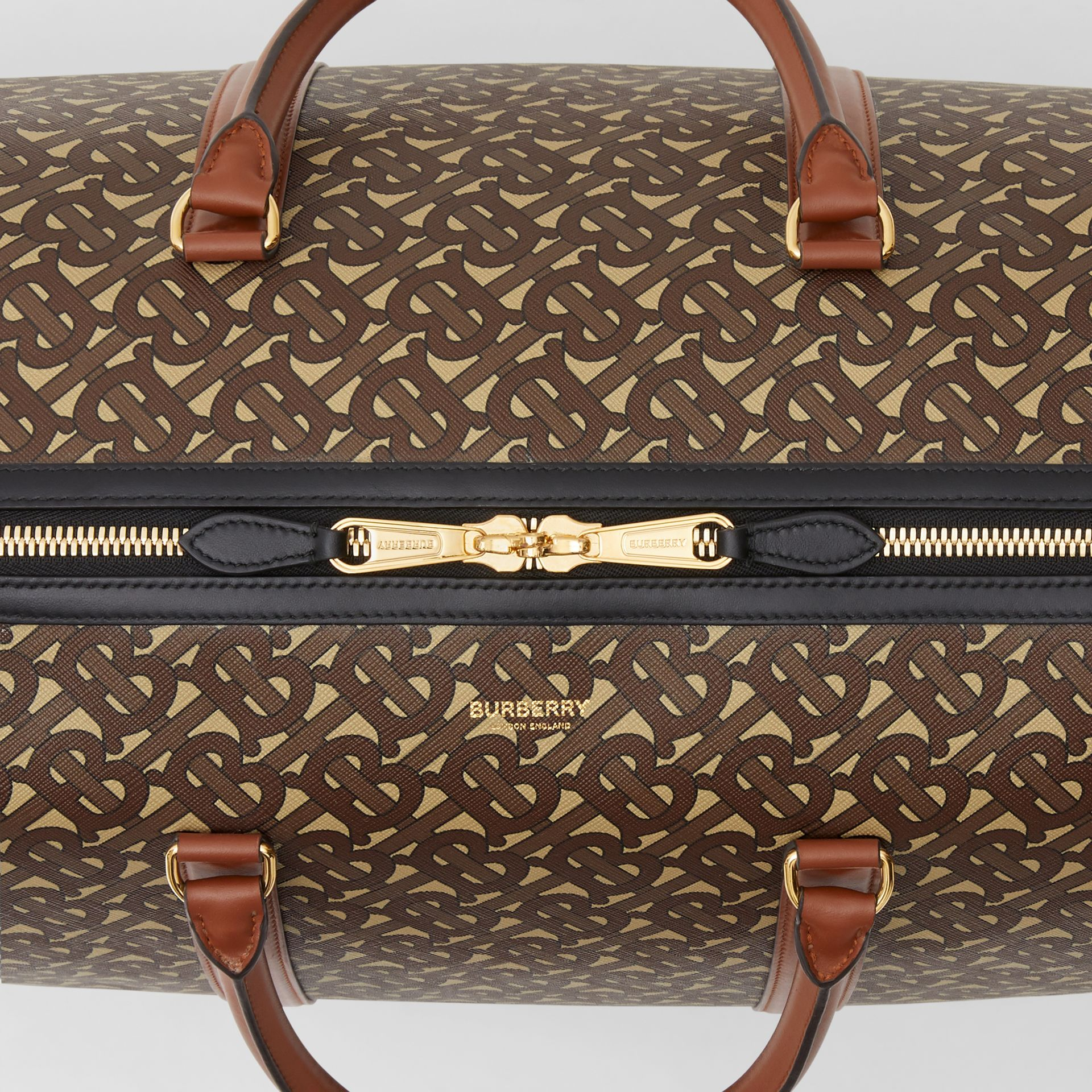 Monogram Print E-canvas and Leather Holdall in Bridle Brown - Men | Burberry - gallery image 1