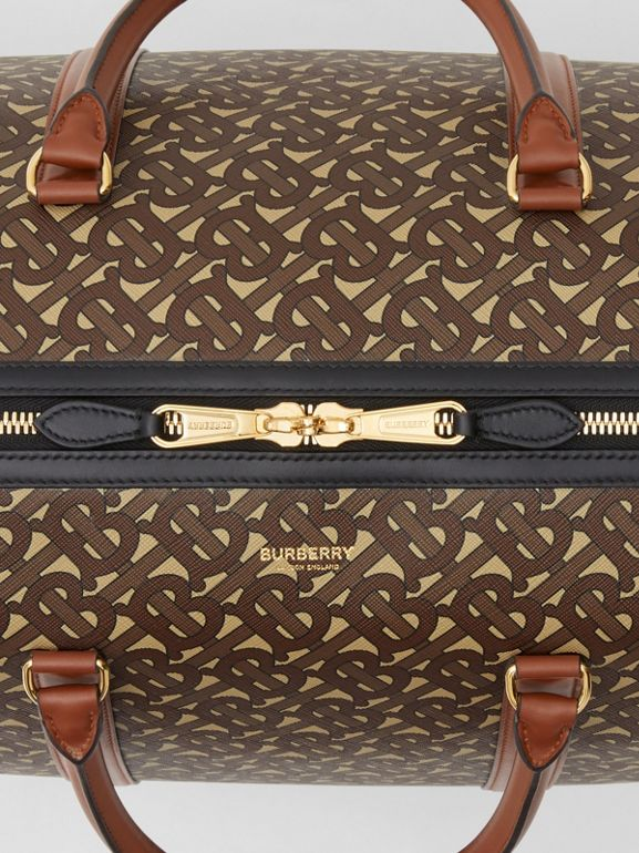 Monogram Print E-canvas and Leather Holdall in Bridle Brown - Men | Burberry - cell image 1