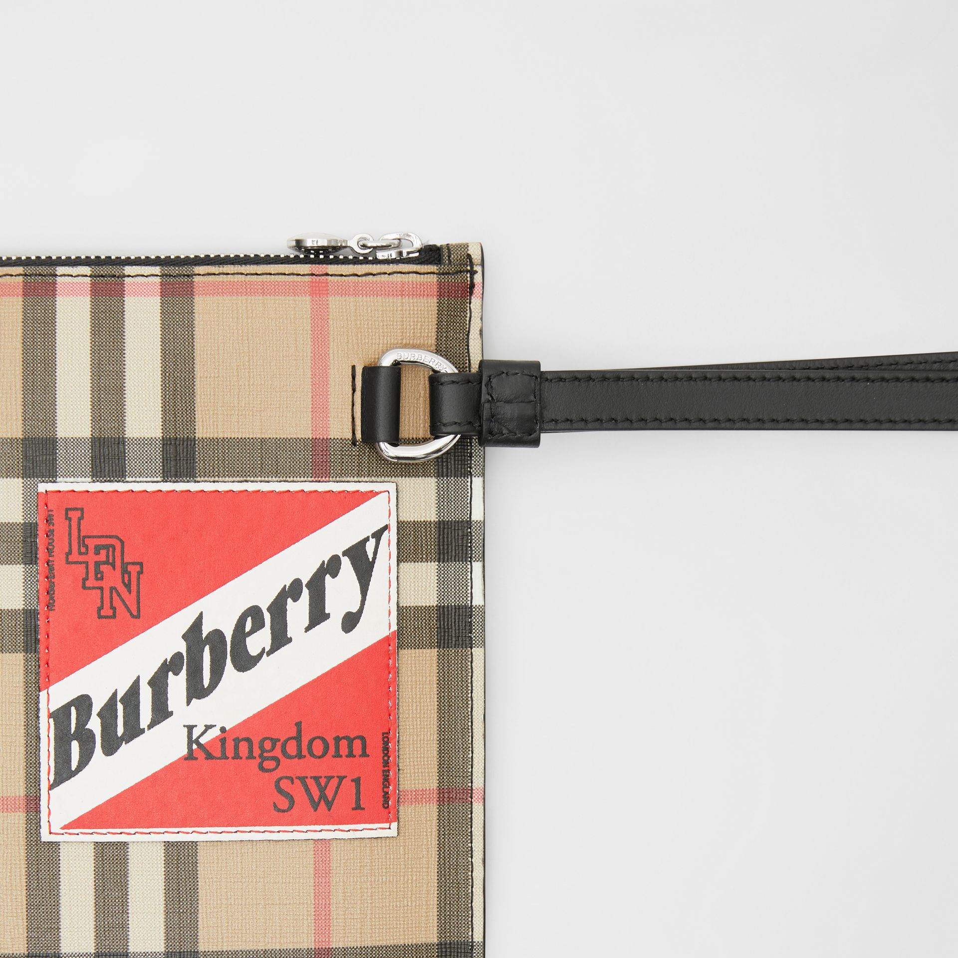 Logo Graphic Vintage Check E-canvas Zip Pouch in Archive Beige | Burberry - gallery image 1