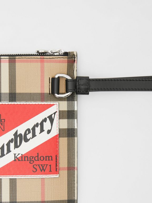 Logo Graphic Vintage Check E-canvas Zip Pouch in Archive Beige | Burberry - cell image 1