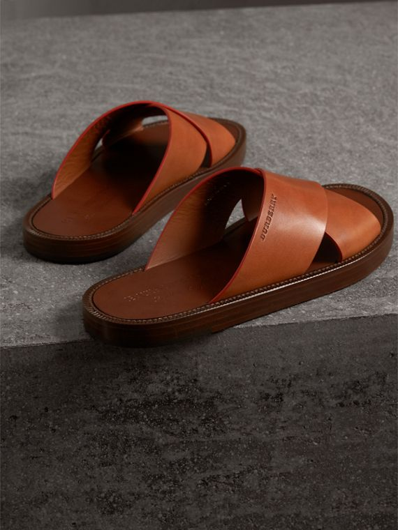 Contrast Detail Leather Sandals in Amber - Men | Burberry - cell image 3