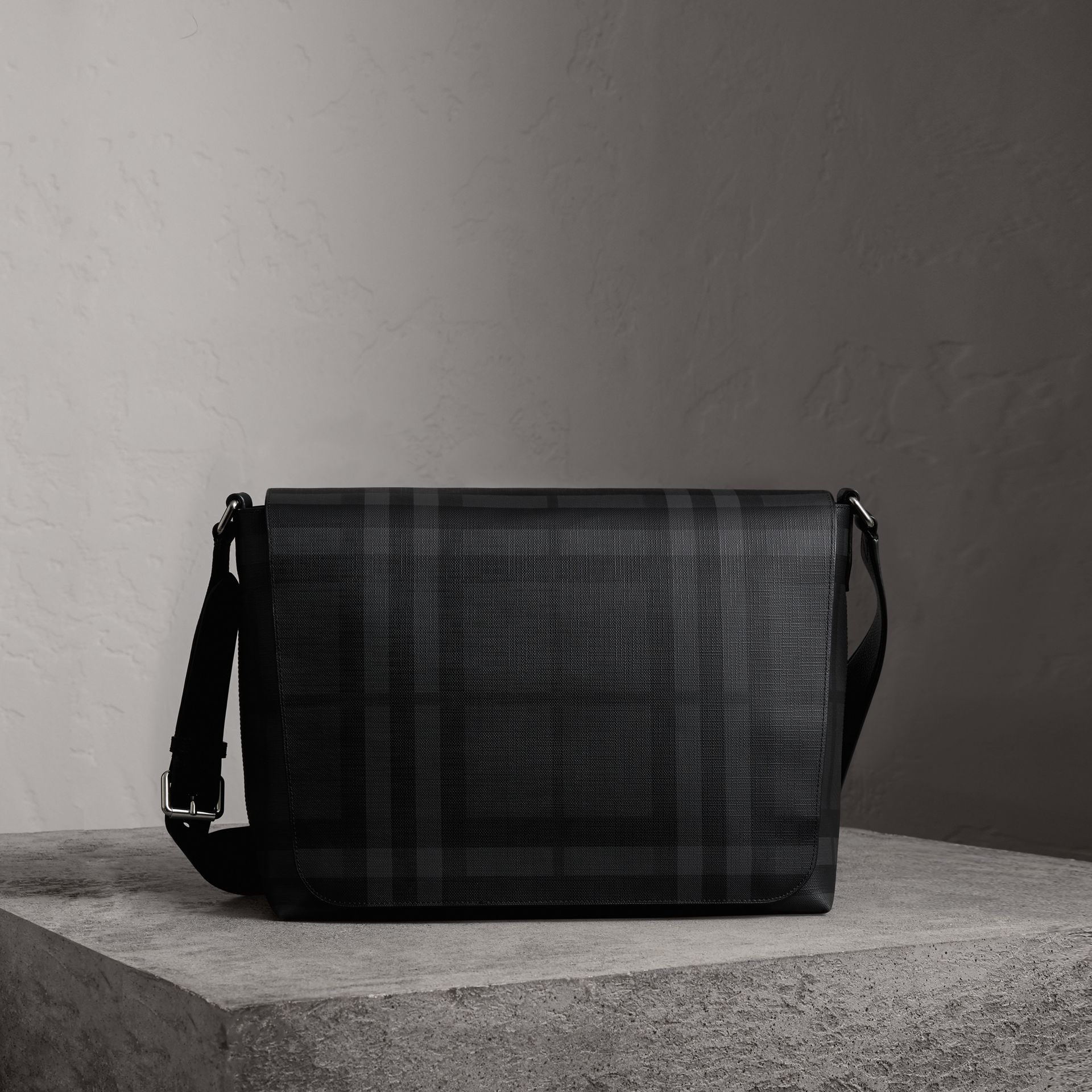Large London Check Messenger Bag in Charcoal/black | Burberry - gallery image 0