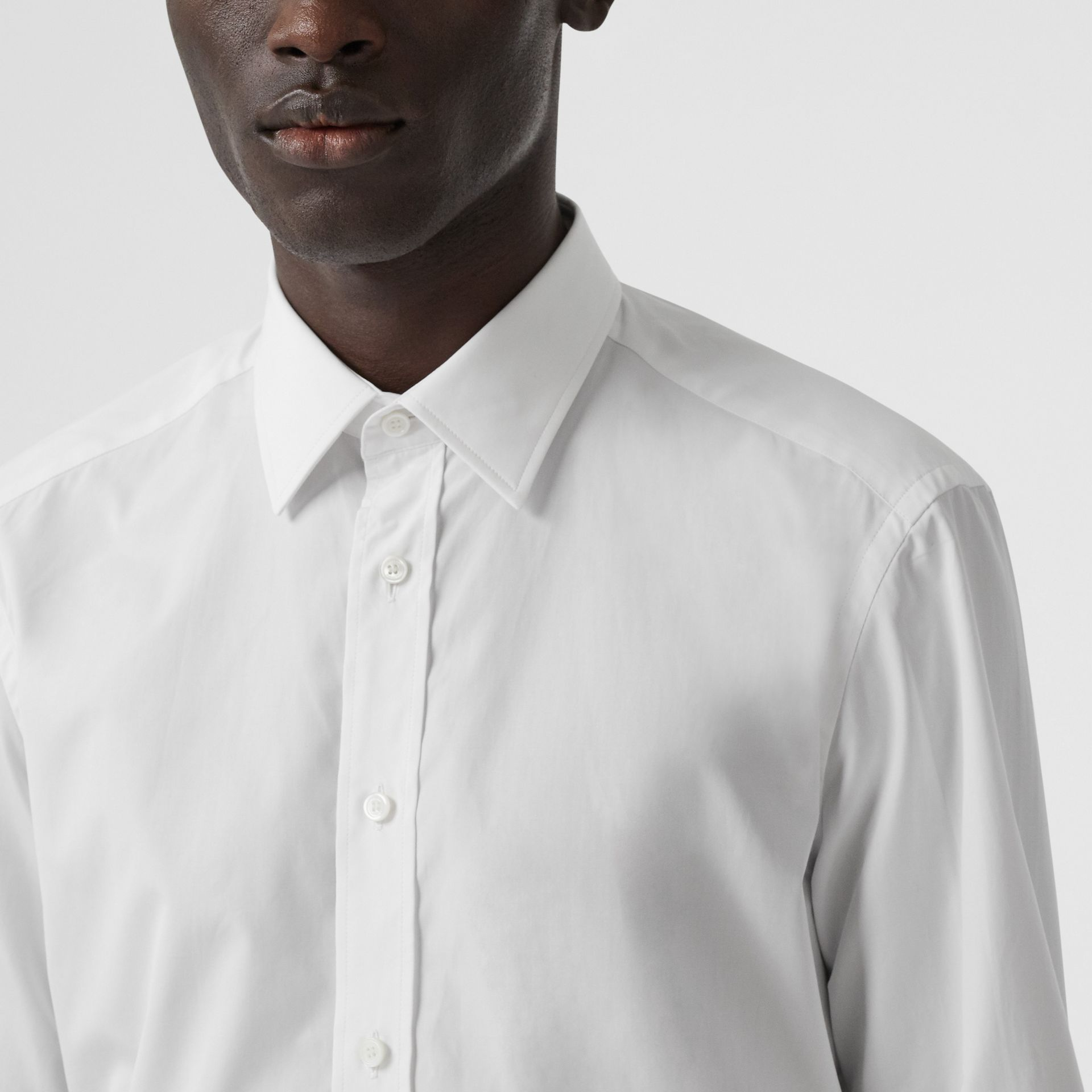 Classic Fit Monogram Motif Cotton Poplin Shirt in White - Men | Burberry United Kingdom - gallery image 1