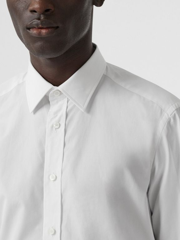 Classic Fit Monogram Motif Cotton Poplin Shirt in White - Men | Burberry United Kingdom - cell image 1