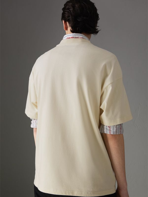 Sign Print Cotton T-shirt in Natural White - Men | Burberry - cell image 2