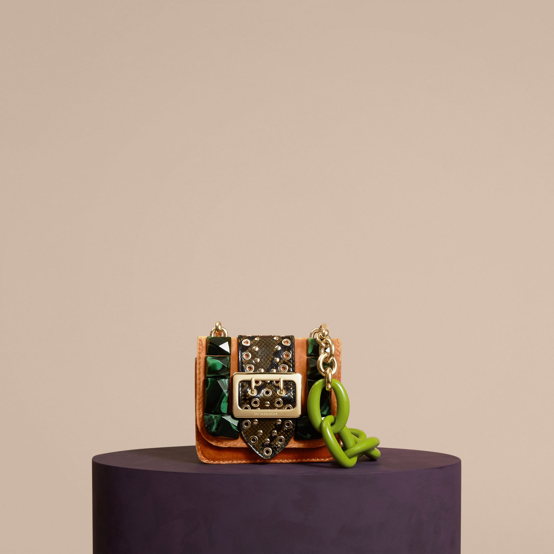 The Mini Square Buckle Bag in Velvet and Snakeskin Chestnut Brown - gallery image 5
