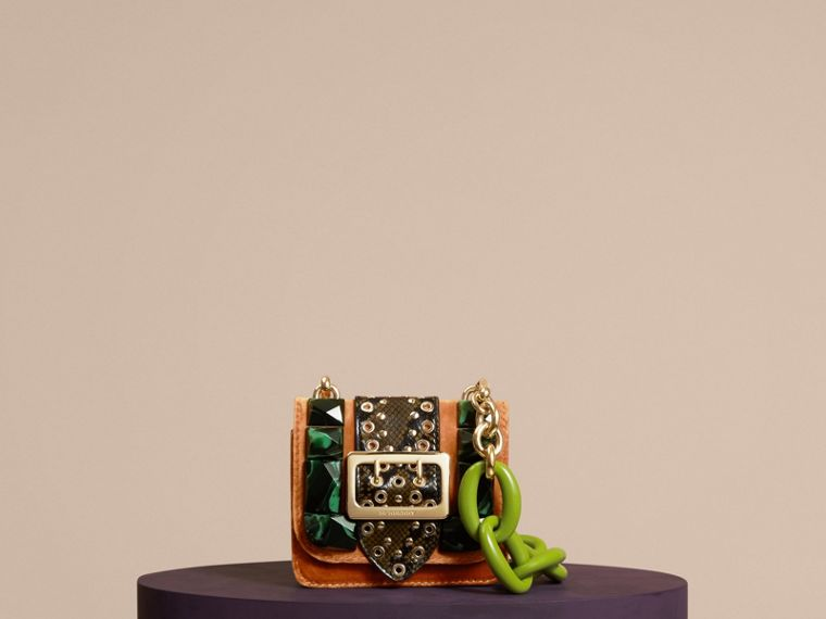 The Mini Square Buckle Bag in Velvet and Snakeskin - cell image 4