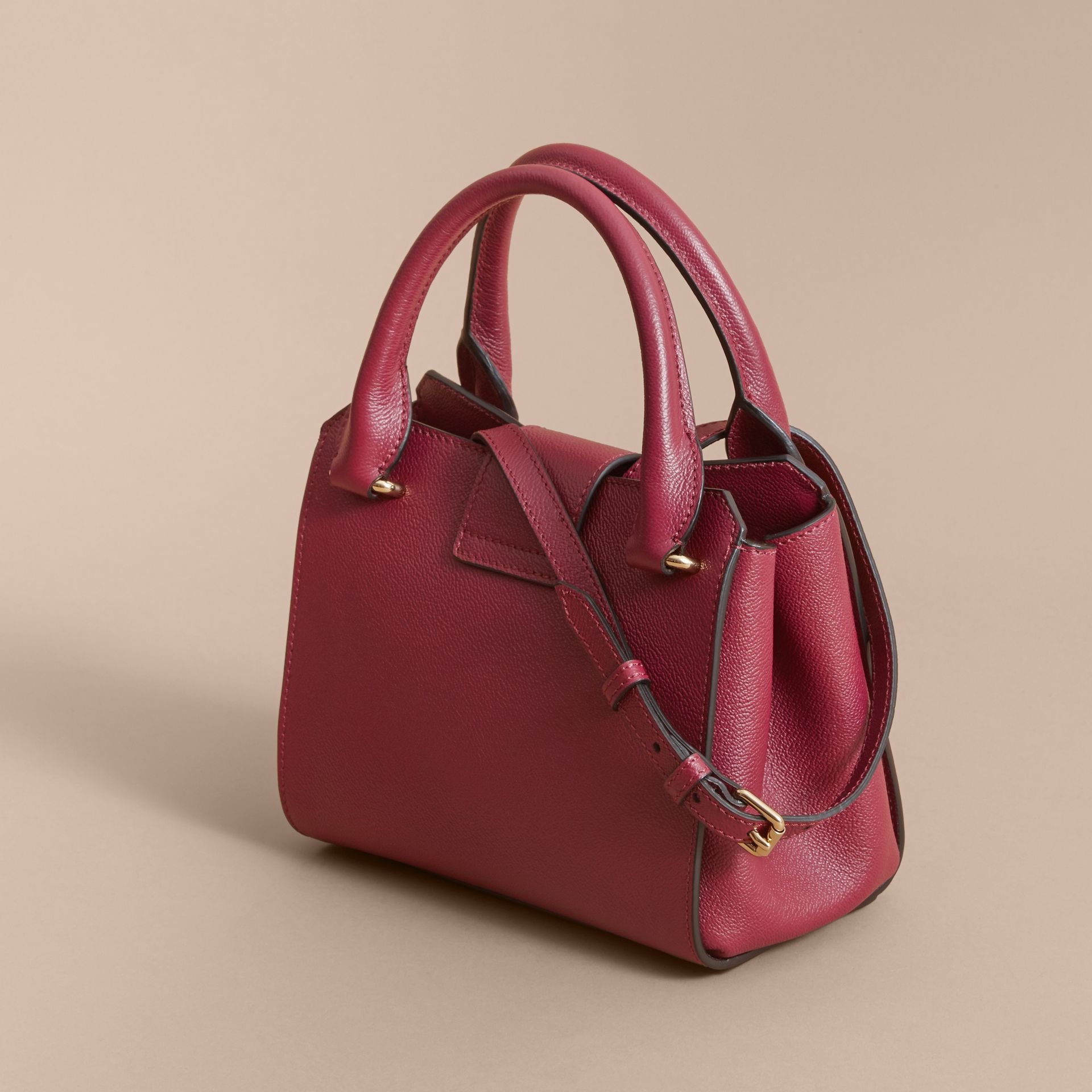 The Small Buckle Tote in Grainy Leather Dark Plum - gallery image 5
