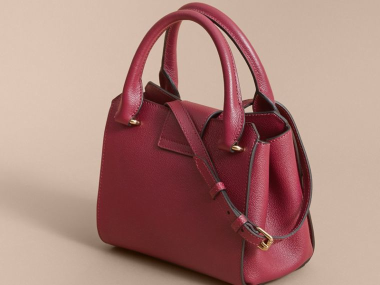 The Small Buckle Tote in Grainy Leather Dark Plum - cell image 4