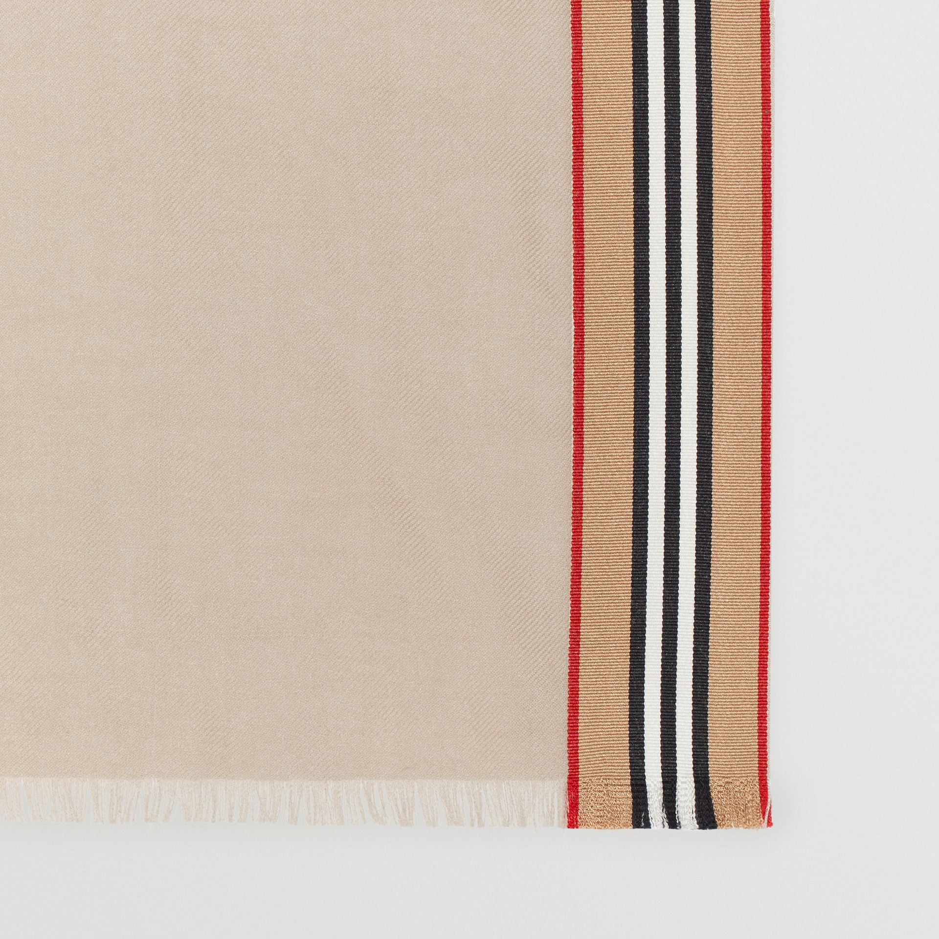 Icon Stripe Cashmere Silk Scarf in Stone | Burberry Singapore - gallery image 1