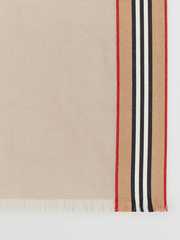Icon Stripe Cashmere Silk Scarf in Stone | Burberry - cell image 1