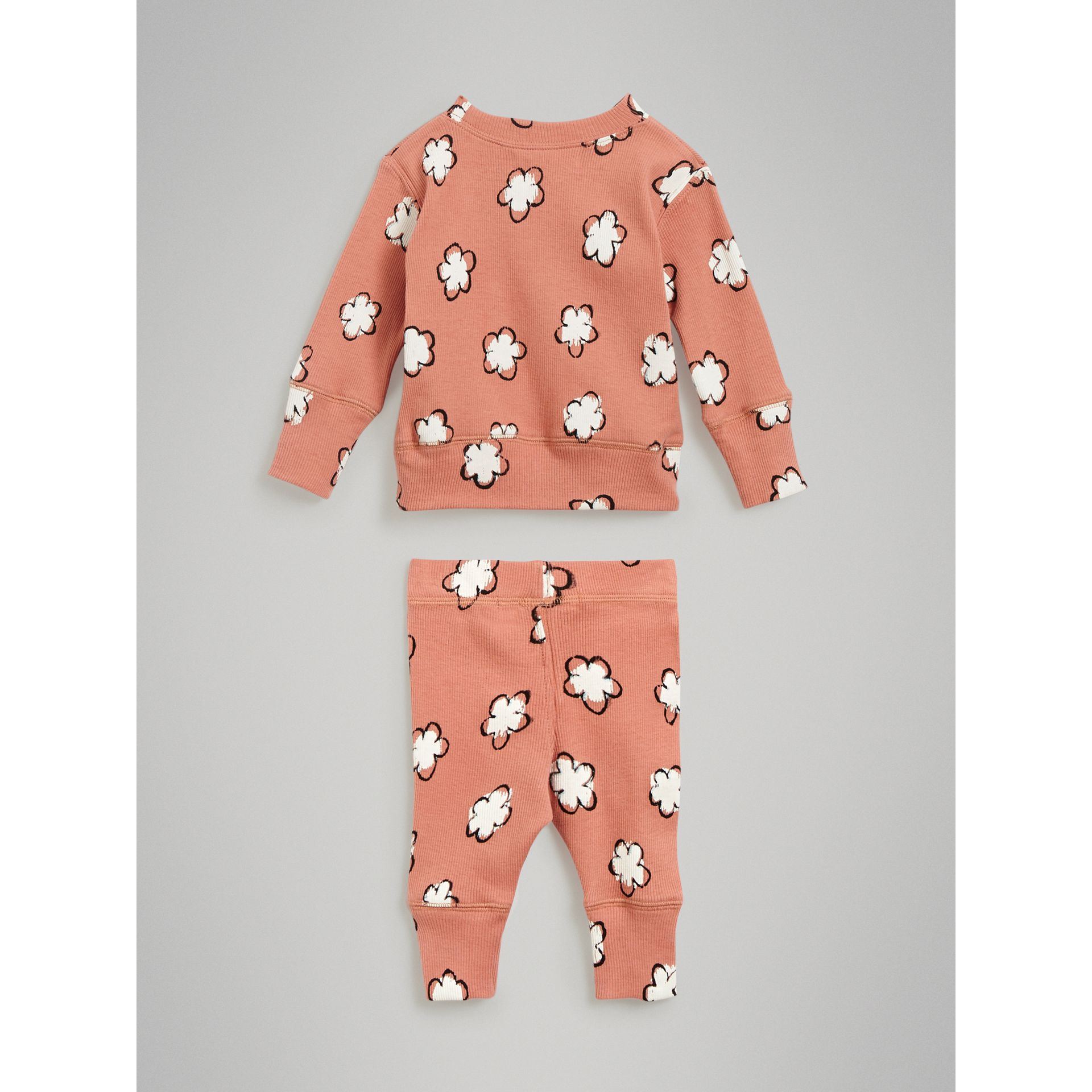Flower Print Cotton Four-piece Baby Gift Set in Dusty Pink | Burberry United Kingdom - gallery image 3