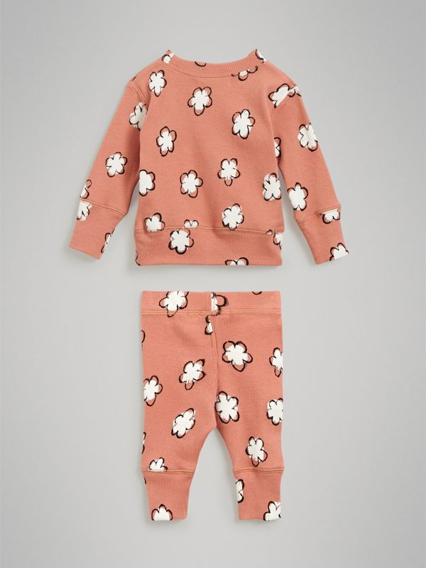 Flower Print Cotton Four-piece Baby Gift Set in Dusty Pink - Children | Burberry - cell image 3