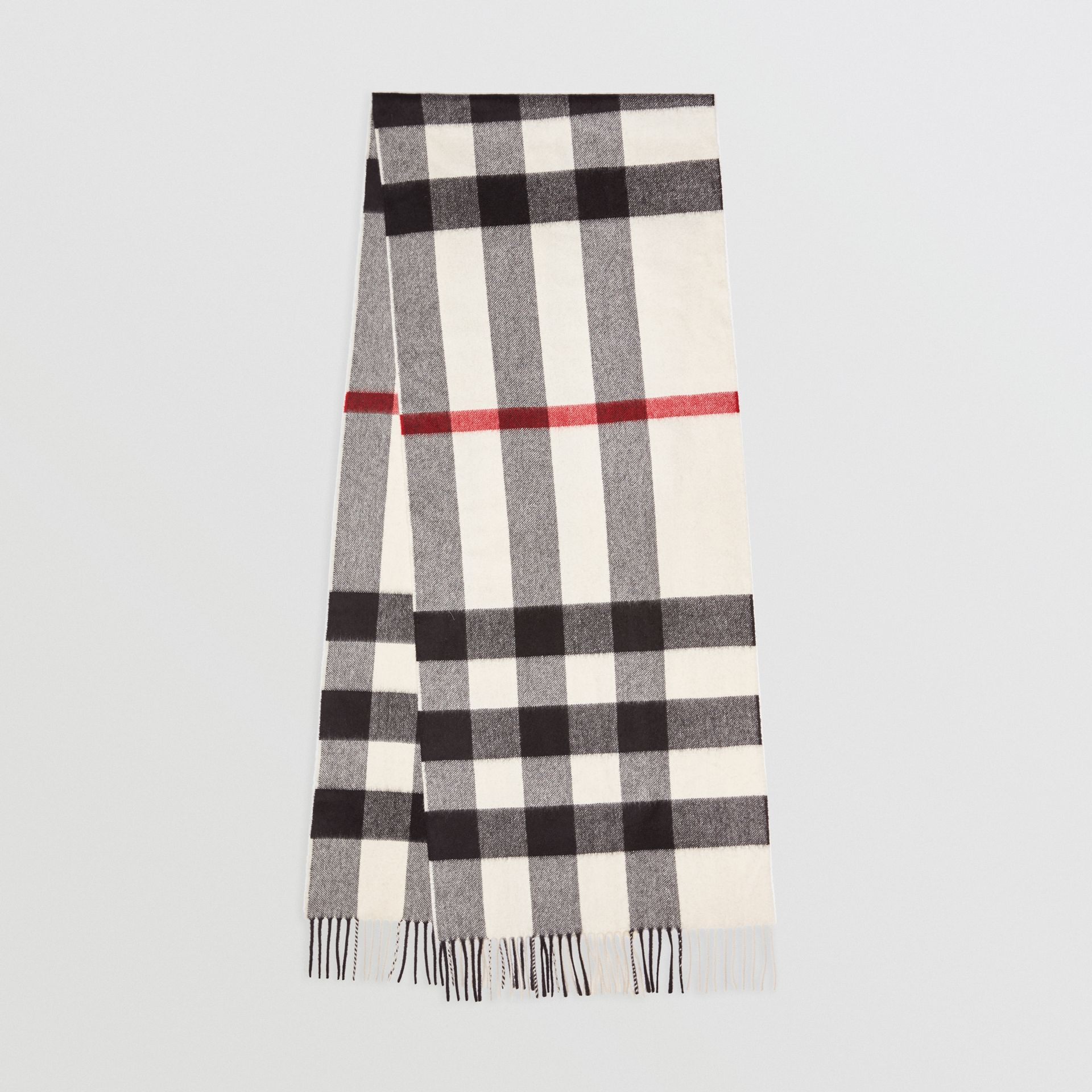 official store details for timeless design The Large Classic Cashmere Scarf in Check in White | Burberry United States