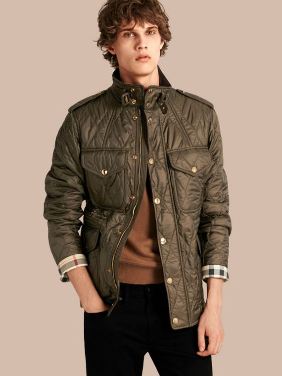 Diamond Quilted Field Jacket Oregano