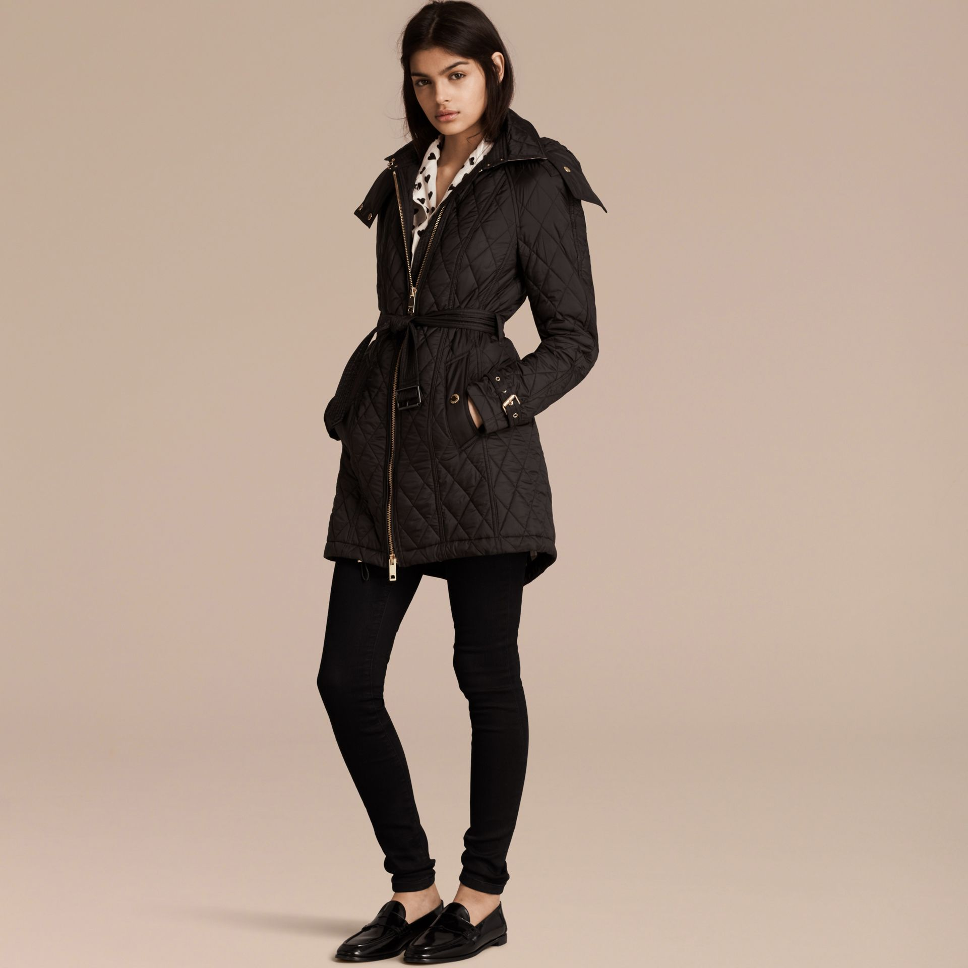 Diamond Quilted Showerproof Parka - gallery image 1