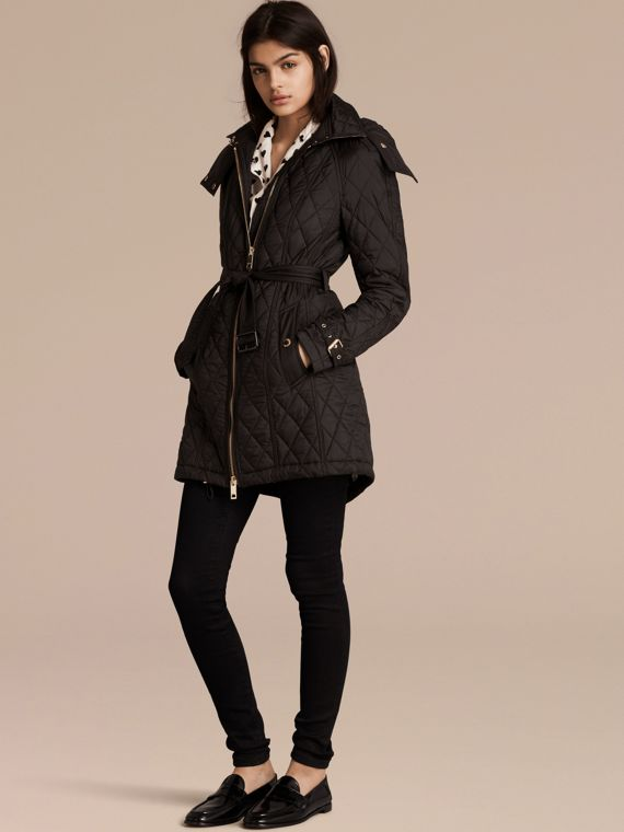 Diamond Quilted Showerproof Parka - Women | Burberry