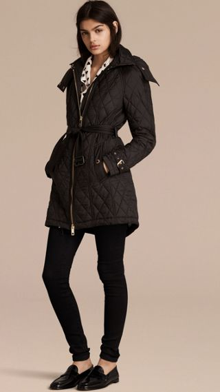 Diamond Quilted Showerproof Parka