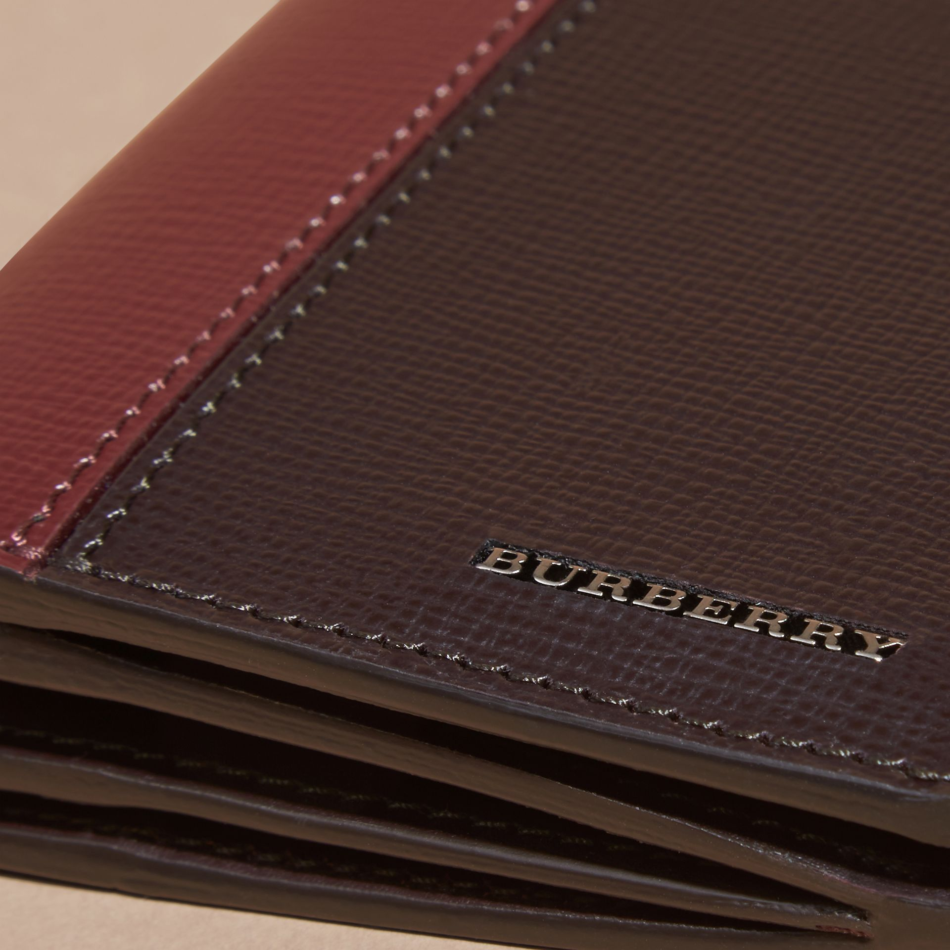 Wine/burgundy red Colour Block London Leather Continental Wallet Wine/burgundy Red - gallery image 2