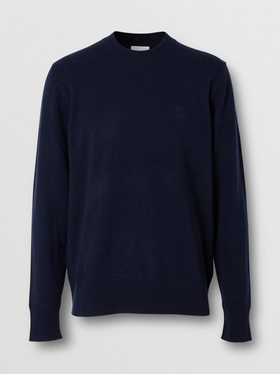 Monogram Motif Cashmere Sweater in Navy