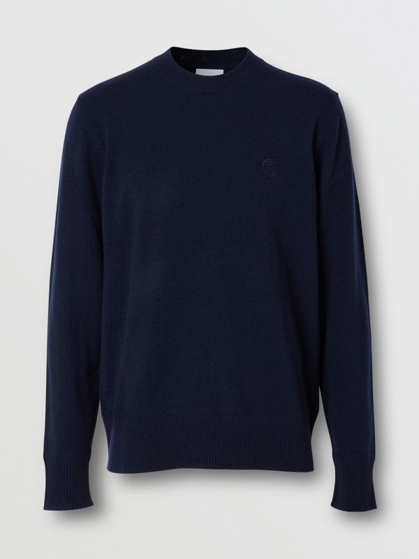 Monogram Motif Cashmere Sweater in Navy - Men | Burberry - cell image 3